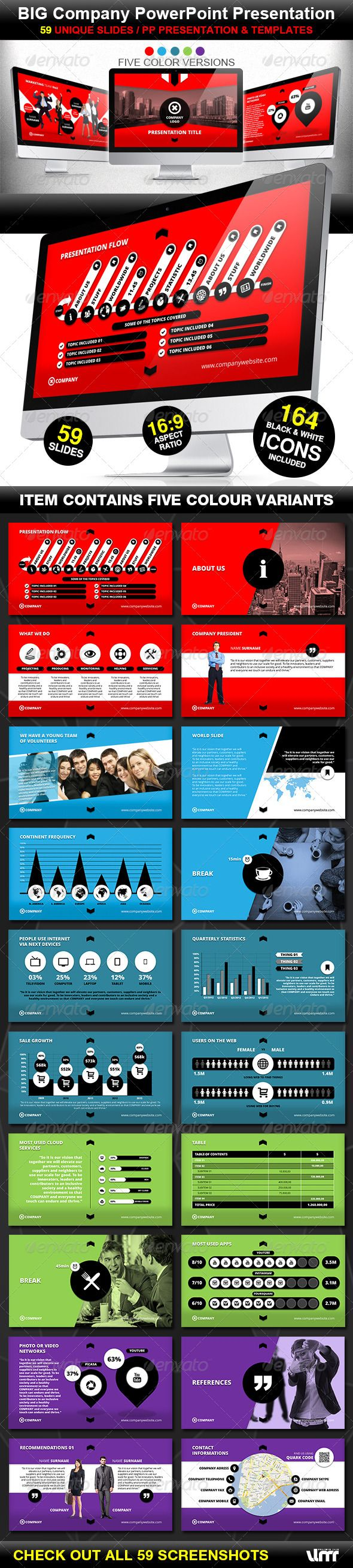 Presentation Templates - Big Company PowerPoint Prezentation Template | GraphicRiver, presentation, color pattern, design,