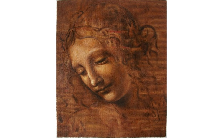 Museum quality reproduction oil painting of Leonardo da Vinci's La Scapigliata hand painted on original size canvas by www.RepFineArt.com