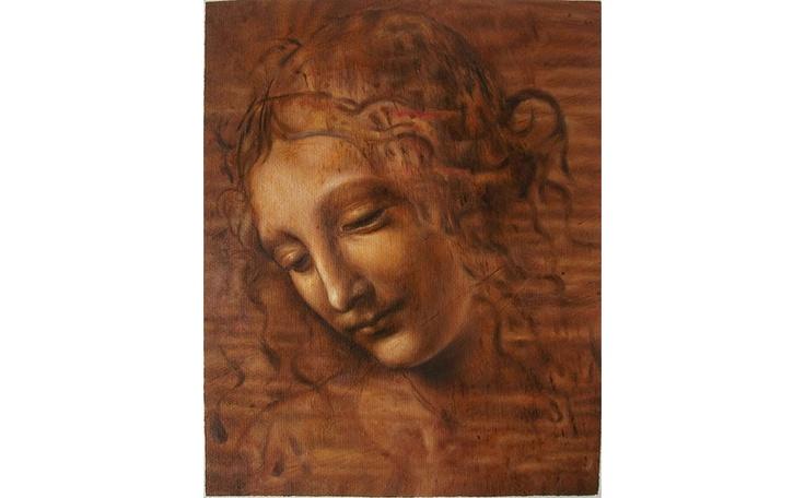 Museum quality reproduction oil painting of Leonardo da Vinci's La Scapigliata hand painted on original size canvas by www.RepFineArt.com