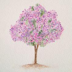 Manacá-da-serra / Tree 8, aquarela / watercolor 21 x 15 cm, arvore, aquarela, drigalindo1@gmail... Adriana Galindo