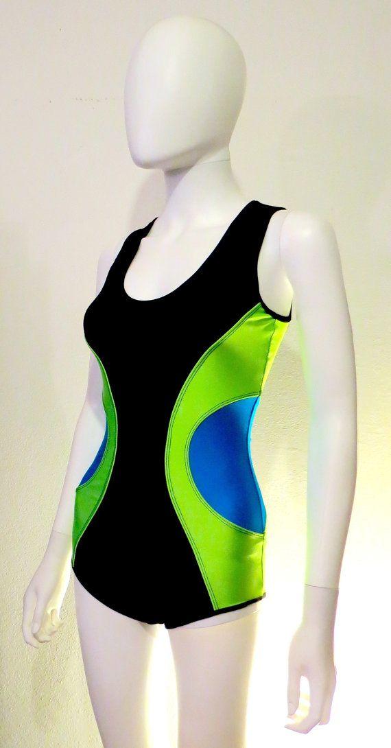 NEON verde costume da bagno - blu - costumi da bagno - costume da bagno - tutina - tuta - Festival - Burning Man - Body - futuristico - flusso - Hooper