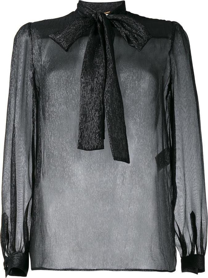 Saint Laurent sheer lurex blouse