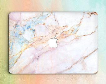 Blue Gold Marble Macbook Case Hard Laptop Case Cover by CZUdesign