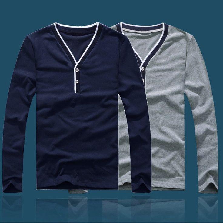 Fashion Men Slim T-shirt V-neck Long Sleeve Button Pullover dark blue - Tomtop.com