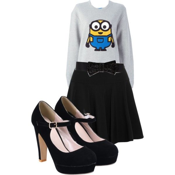 Minionfever by sandra-langmair on Polyvore featuring polyvore fashion style SJYP DKNY Donna Karan