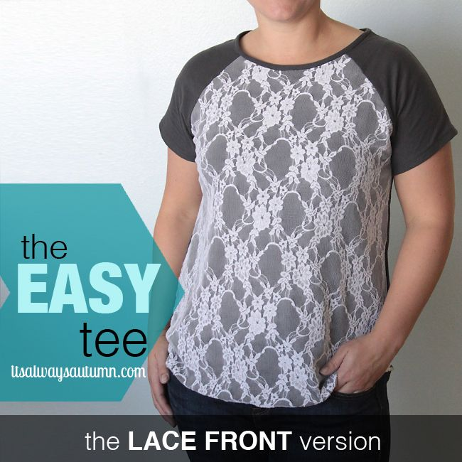 check out this fantastic anthropology knockoff - learn how to make your own and get the FREE printable pattern for this lace front raglan sleeve tee. from itsalwaysautumn.com
