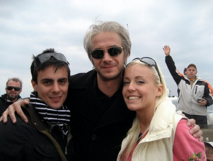 James with his co-stars from Flight of the Swan, clearly has no idea he's getting photo-bombed.  (thanks to Tess Spentzos for this funny photo)