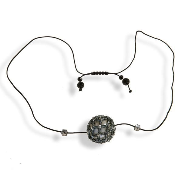 Short White Pearl Black Macrame Necklace With Dark Gray Shimmering Crystals