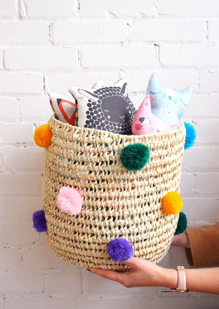 Our pompom baskets as toy bins - Baba Souk