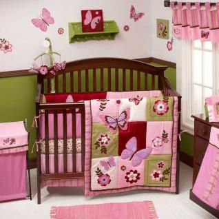 Baby Girl Butterfly Bedding Sets Green Patchwork