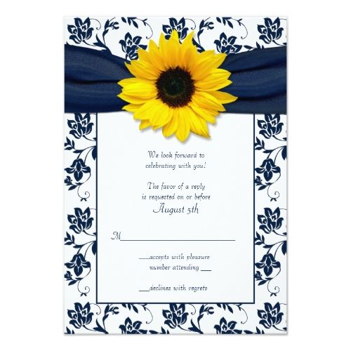 Damask RSVP Wedding Invitations Navy and White Floral Damask Wedding Reply Card