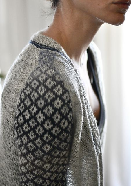 colorwork sleeves... VERY interesting way to jazz up an otherwise grey sweater