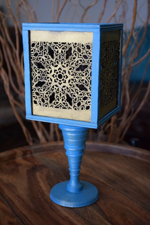 Vase Handmade Blue and Gold Square by ThadamCreativeDesign on Etsy