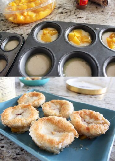 MIni Peach Cobblers - Yummy, works in a round baking dish too if you don't want individual servings. the more butter the better. and good if you let the top get more browned as well.