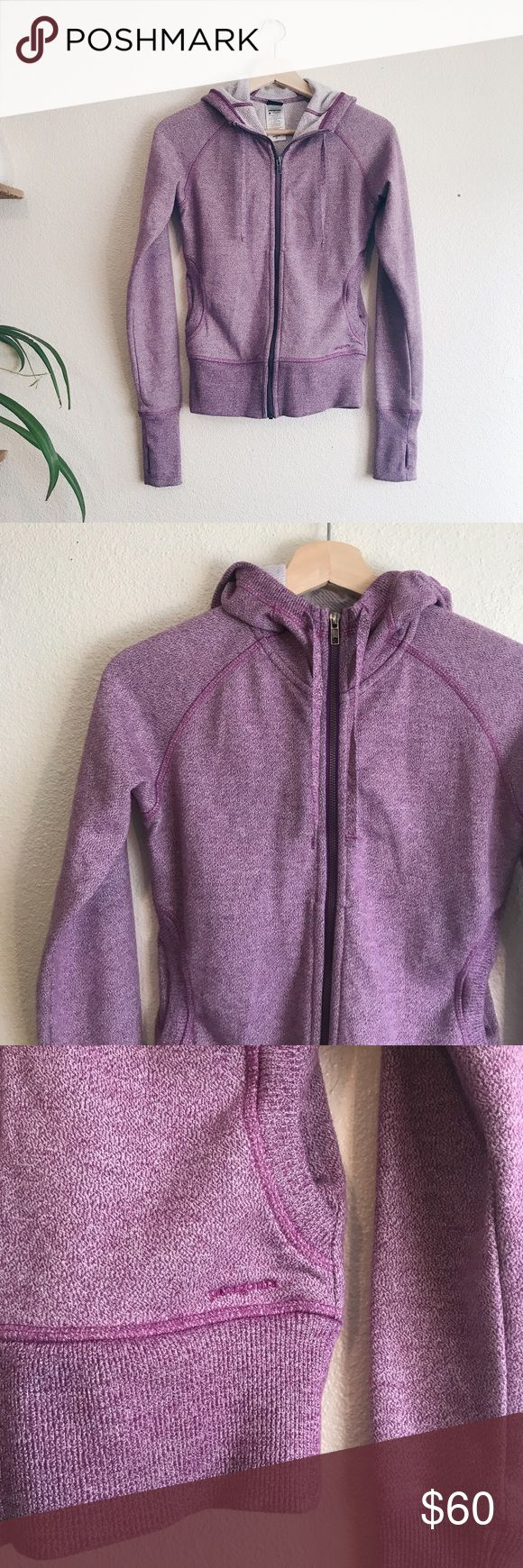 Patagonia purple zip up hoodie Excellent condition! Super cute. I'm a small for reference in the tryons and it's a bit too fitted. Best for XS, as tagged. Has thumb holes. Patagonia Sweaters Crew & Scoop Necks