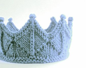 Silver Gray Lace Knit Knight Crown Boy Headband by laceandcable