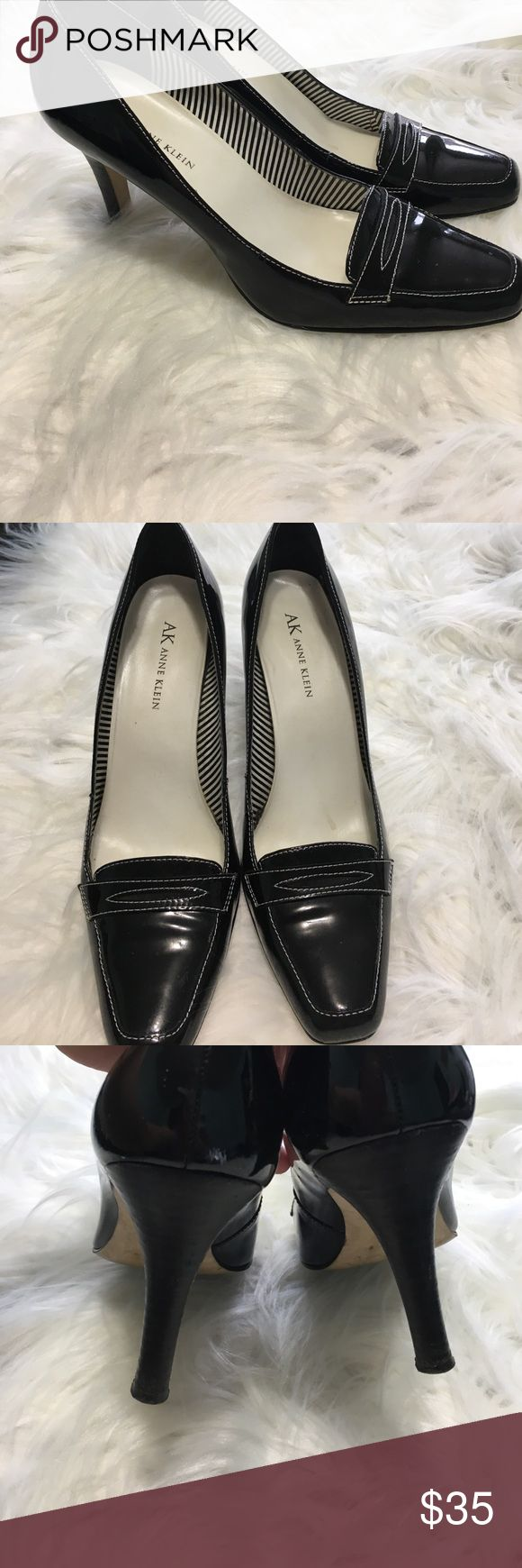 Anne Klein Size 7.5 Black Shiny Heel Essential shoe!  Black and shiny.  Kick ass boss-lady shoe!  Size 7.5. Pre loves but still in very good condition!  Pictures of wear are included! 3.5 inch heel. Anne Klein Shoes Heels