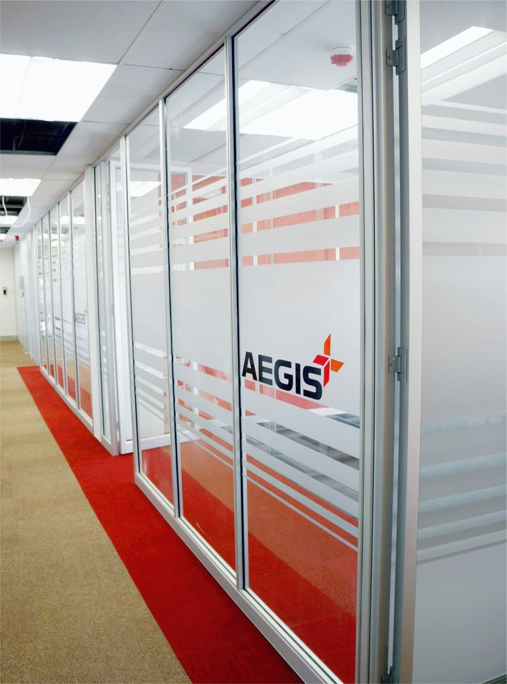 Aegis logo on our 50mm Glass Movable Walling System.