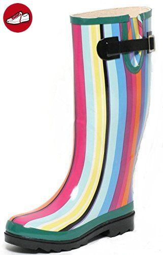 Damen Regen Gummistiefel Gr. 36 Rainbow bunt mit Streifen - Stiefel für frauen (*Partner-Link)
