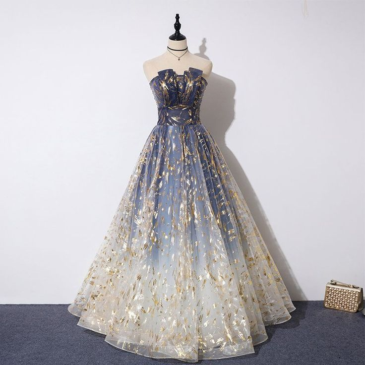 Elegant Dark Blue Gradient Evening Dresses 2019 A-Line / Princess ... - # Evening Dresses # ALineie #Dark Blue #elegante