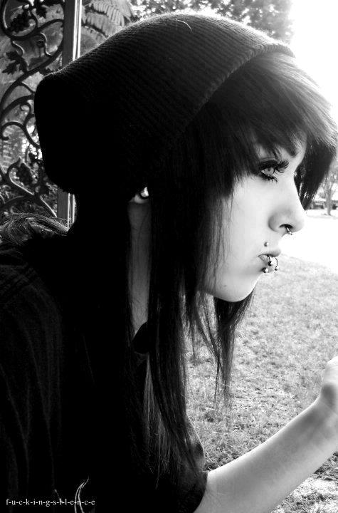 cute. razored hair, fringe, bangs, beanie, piercings:)