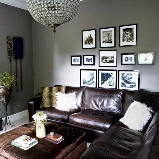 Grey walls brown leather couch living room look for Living room gray couch