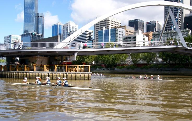 #Travel:  Sculls on the #Yarra River, #Melbourne, Victoria, #Australia.  Photo Credit: Dawne Rudman