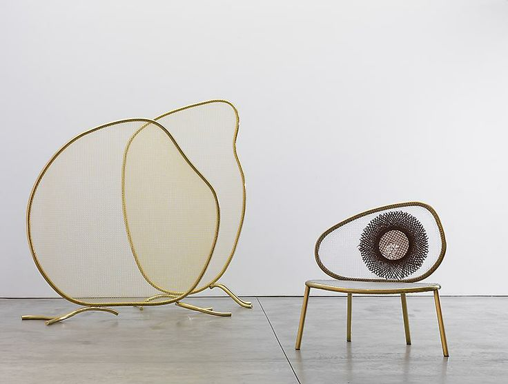 Campana Brothers, Racket Screen 1, 2013 Racket Screen 2, 2013 Racket Chair (Tennis), 2013 Brass tubes and woven nylon.