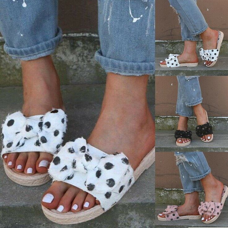 Summer Womens Sandals Casual Slides Bow Sandals Comfortable Beach Slippers Hot #…