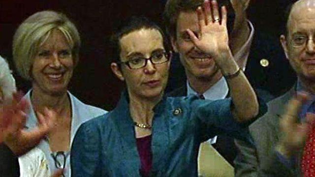Gabby Gifford back in Washington!  We all wish you well.