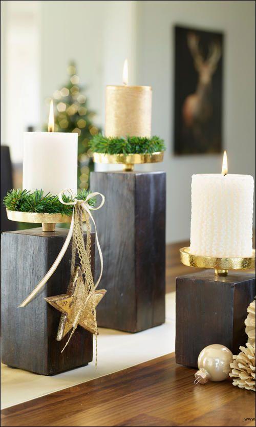 Edle Kerzenständer in Gold und Schwarz