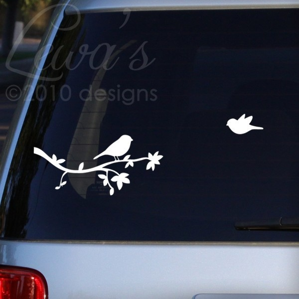 Birdies and branch car window sticker