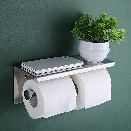 KES SUS 304 Stainless Steel Double Roll Toilet Paper Holder Storage Bathroom Kitchen Dual Paper Towel Dispenser Tissue Roll Hanger Wall Mount, Polished Finish