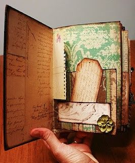 Creating a mini with paper and an old book cover - link includes video how to from Marion Smith