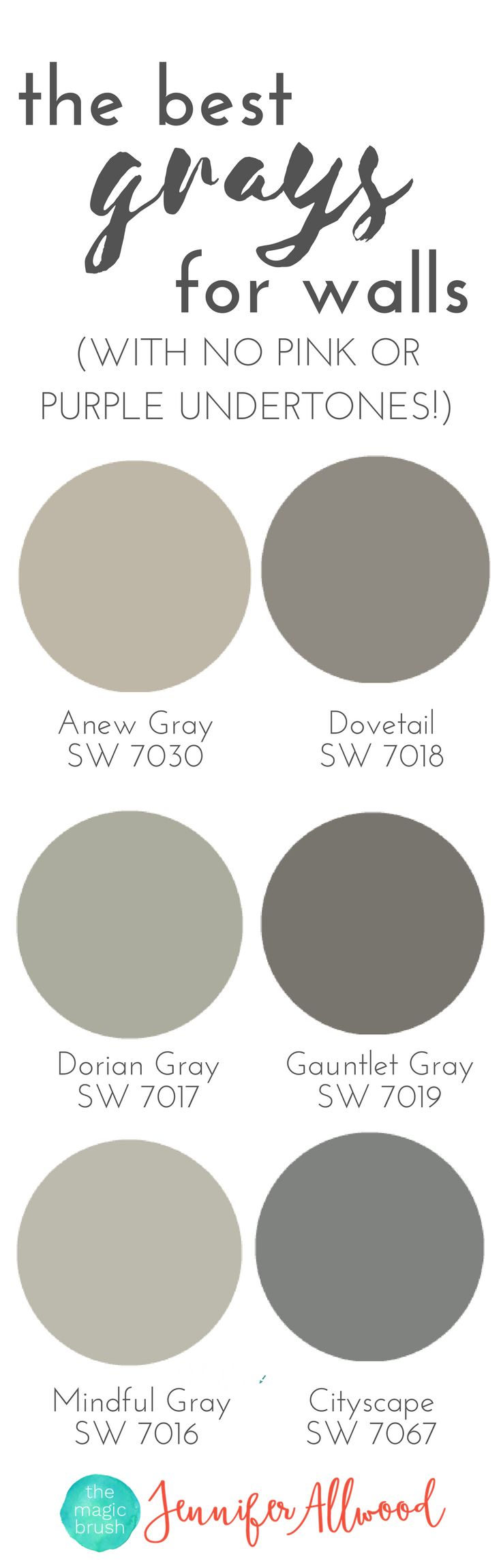 the best Gray Paint Colors for walls with no pink or purple undertones | Magic Brush | Jennifer Allwood's Top 50 Wall Paint Colors | Paint Color Ideas | | Interior Paint Colors | Best Paint Colors for Living Rooms
