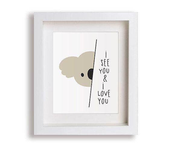 Les enfants Koala pépinière Art Print - outback australien, ours de koala, cadeau, je t'aime, art moderne, chambre bébé, chambre, fille, garçon, neutre