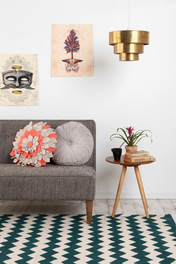 #chevron #print #rug #living #room #gold #lamp #space #interior #home