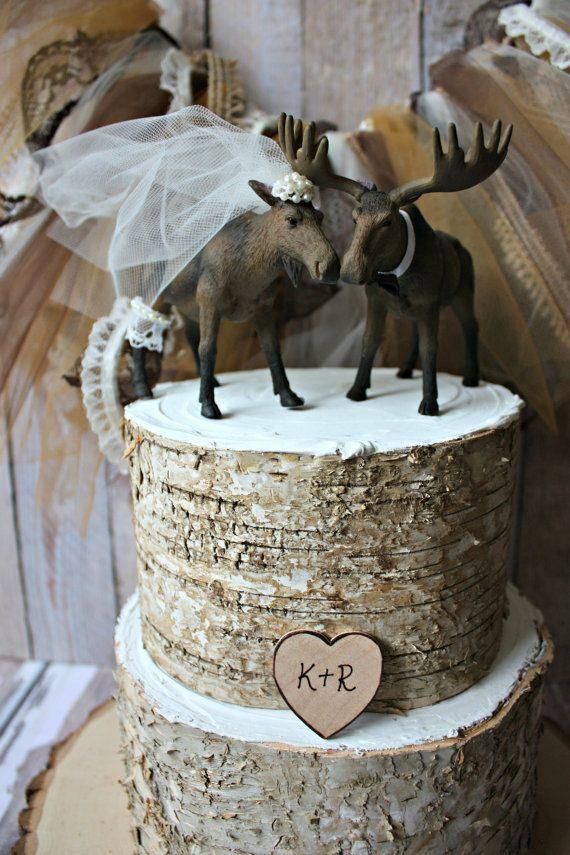 Moose wedding cake topper-Alaskan Moose-Moose cake topper-Rustic Cake topper-Hunting cake topper on Etsy, $44.00