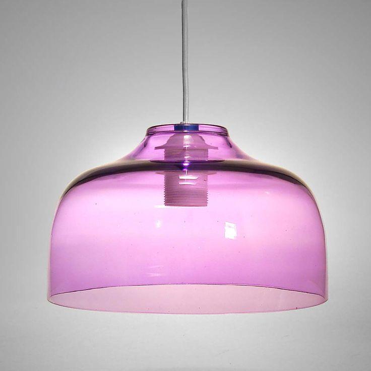 Suspension en verre soufflé translucide diamètre 25 cm hauteur 14 cm ...