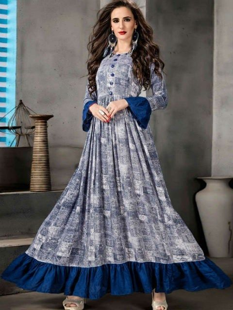 ac177c01f3 Rayon  Blue   Grey Printed Indo Western Kurti