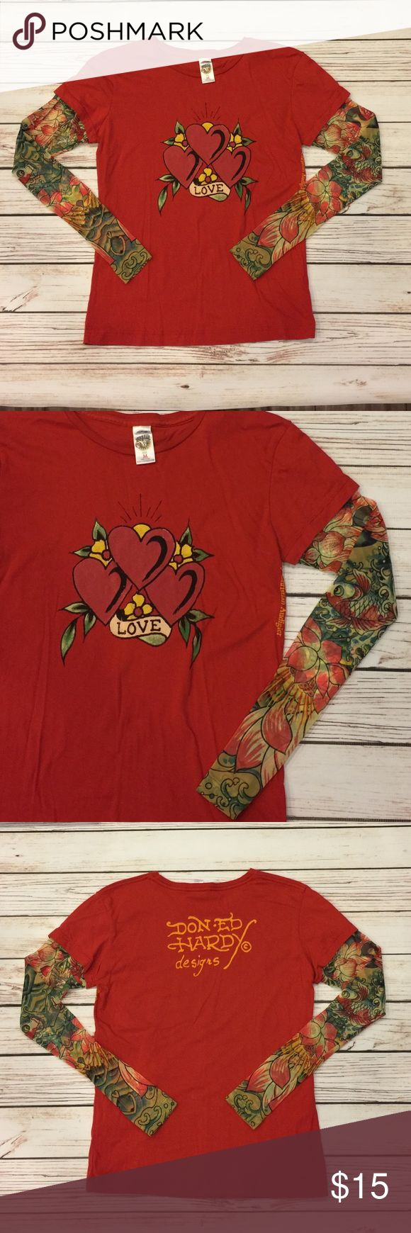 Ed Hardy heart coy fish t shirt red, tattoo sleeve Perfect for Valentine's Day, red Ed Hardy heart design t- Shirt.  Long coy fish design tattoo sleeves, SZ M. Ed Hardy Tops Tees - Long Sleeve