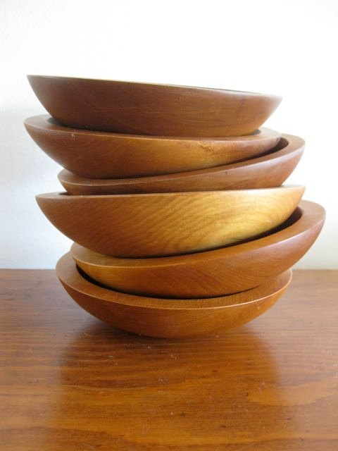 a set of six baribocraft wooden salad bowls by cottagewear on etsy