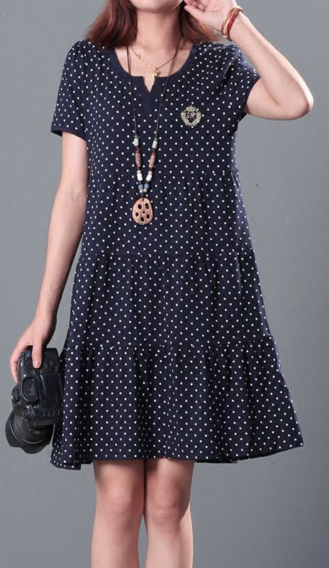 Dotted plus size summer dresses cotton shift dress 2016 New design