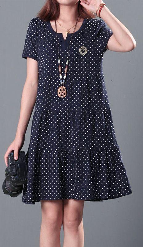 Dotted plus size summer dresses cotton shift dress 2016 New design