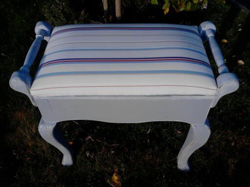 Large bench/piano stool with deep storage area. Upholstered in Ralph Lauren Stripe and Handpainted blue heather gray and highlighted in stone