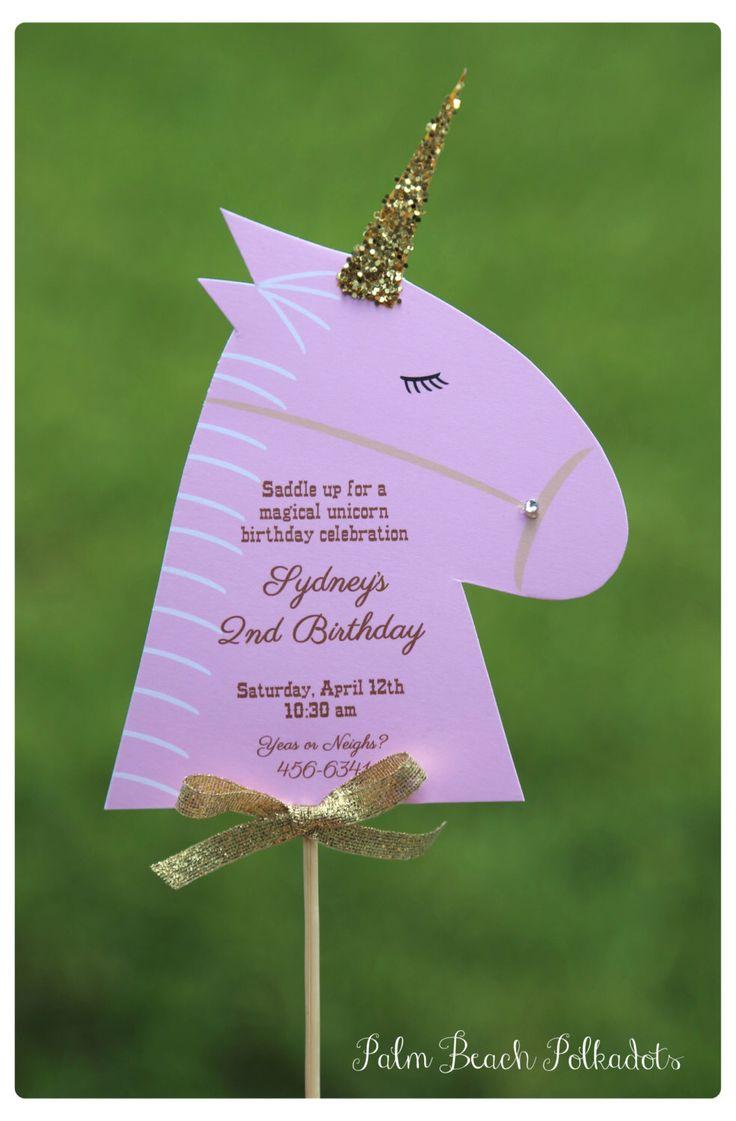 10 Beautiful Magical Unicorn or Horse / Pony Party Farm Birthday Invitations  by Palm Beach Polkadots by palmbeachpolkadots on Etsy https://www.etsy.com/listing/151088644/10-beautiful-magical-unicorn-or-horse