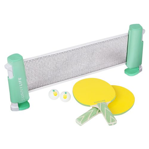 SU5PPGXP  5.6 x 2.2 x 7.5 Inches  PVC, Wood (Poplar)  Turn any table into an arena with Ping Pong Play On. Just clip the portable  and fully adjustable net to any sized table for instant matches! Each net  comes with two paddles and two balls.