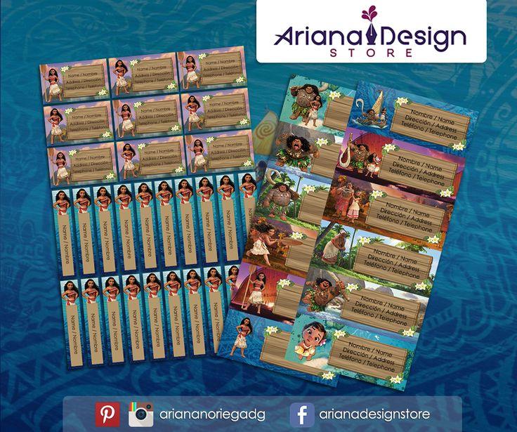 #etiquetas #etiquetasescolares #moana #arianadesignstore #maui #babymoana #nametag #label #school #stickers #schoolsupplies