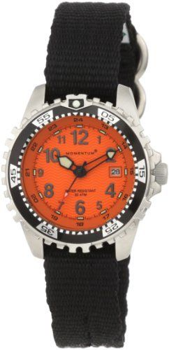 Momentum Women's 1M-DV01O8B M1 Orange Dial Black Re-Ply Nylon Dive Watch Momentum. $114.95. Water-resistant to 660 feet (200 M). Black canvas with stainless steel buckle closure. Quartz movement. Date feature, super luminous hands and indexes, unidirectional rotating bezel. Water resistant up to 660 feet (200m)