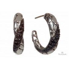 Estate John Hardy Kali Arus Silver Lava Black Sapphire Earrings